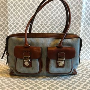 BLUE CANVAS WITH BROWN LEATHER TRIM SATCHEL
